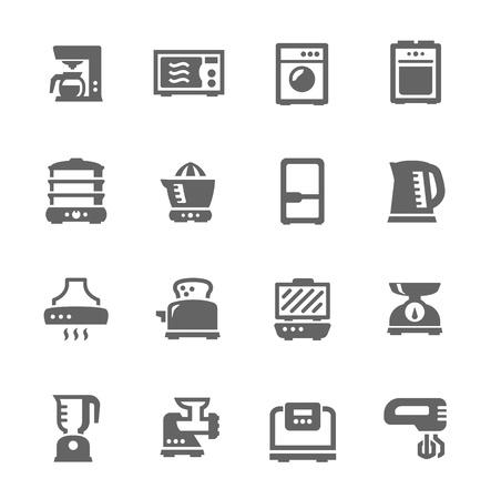 Zestaw prostych ikon związanych z kuchnią