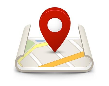 Mapa con un pin Foto de archivo - 21163706