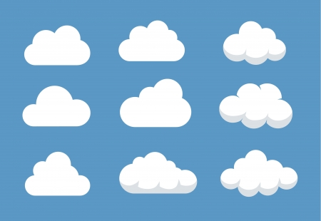 Set of different shaped clouds Stock Vector - 21163715