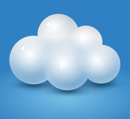 Simple cloud on the blue background with a shadow Illustration