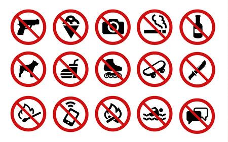 금지 표지판의 컬렉션입니다. 15 아이콘의 집합입니다. 일러스트