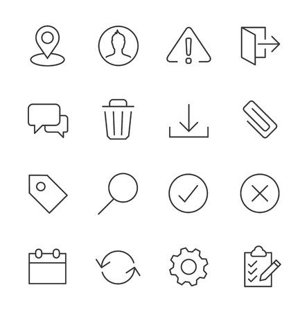 ios: Stroked interface icon set.