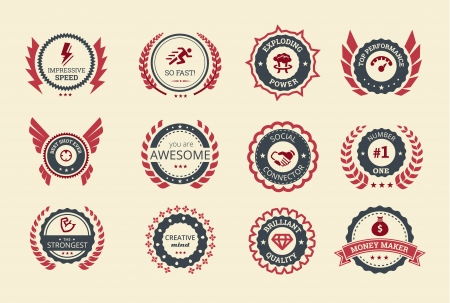 medal ribbon: Achievement badges for games or applications  Two shades of color