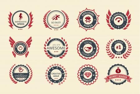Odznaki za osiągnięcia dla gier lub aplikacji, dwóch odcieniach koloru Ilustracja