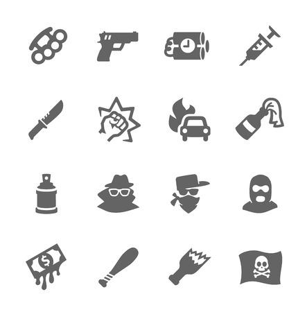 Prosty zestaw przestępstw związanych z ikon wektorowych dla projektu