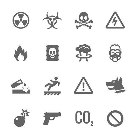 Prosty zestaw zagrożenia związane z ikon wektorowych dla projektu