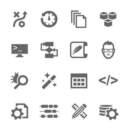 documentation: Simple set of development related vector icons for your design