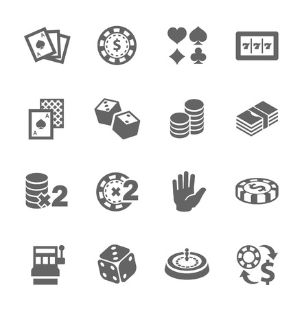 Simple set of gambling related vector icons for your design  Çizim