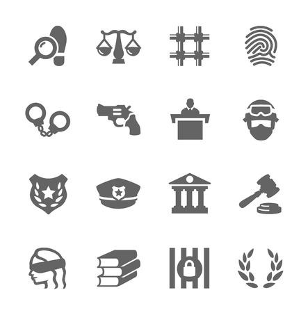 Configuración sencilla de Derecho y vectores iconos relacionados con la justicia para su diseño