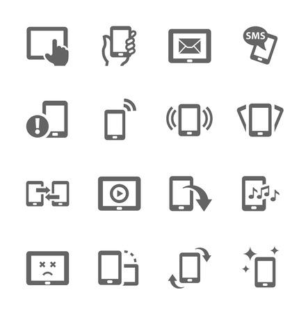Configuración sencilla de los dispositivos móviles relaciona iconos vectoriales para su diseño Ilustración de vector