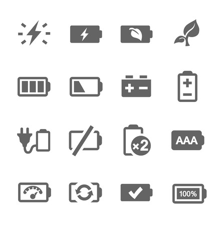 polarity: Simple set of battery related vector icons for your design  Illustration