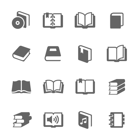 open diary: Simple set of books related vector icons for your design  Illustration