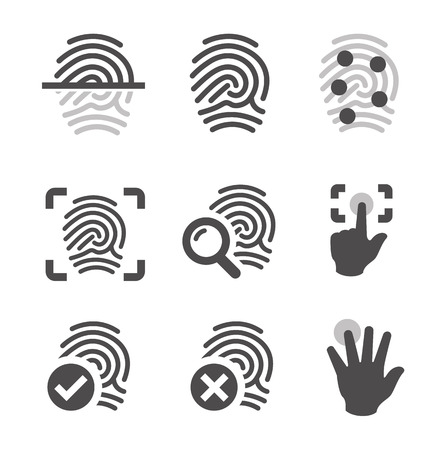technology symbols metaphors: Simple set of fingerprint related vector icons for your design