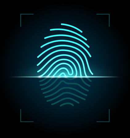 Fingerprint identification system  EPS 10 with transparency  Vector