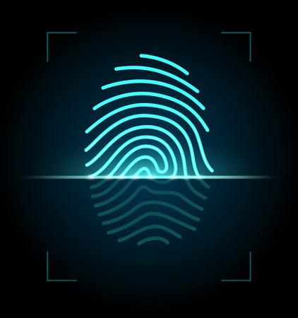 empreintes digitales: Syst�me d'identification d'empreintes digitales 10 EPS avec transparence Illustration