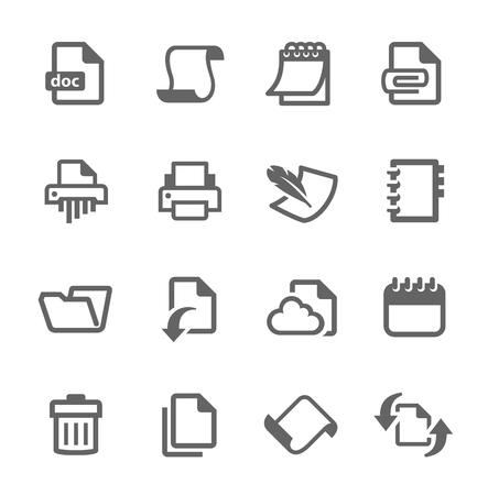 Prosty zestaw dokumentów związanych ikon wektorowych dla projektu