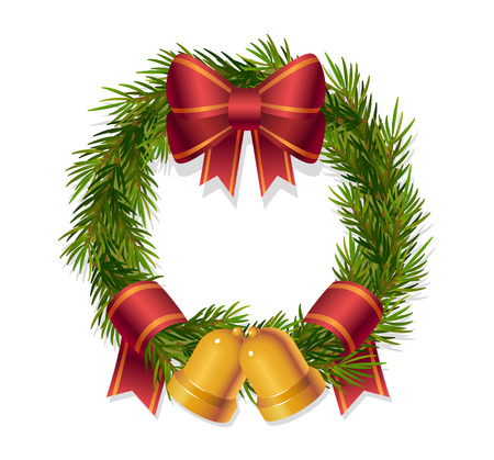 Boże Narodzenie wieniec z czerwoną wstążką i dzwony - Ilustracja