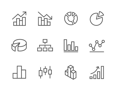 Stroked Graph and diagram icon set  Illustration