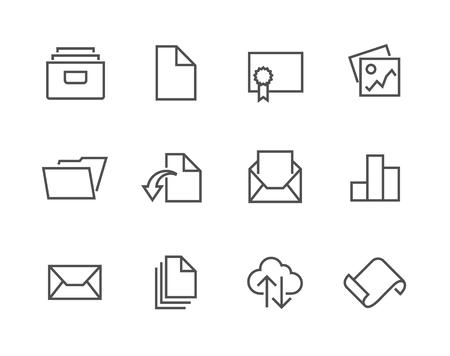 Dokument obrysowane zestaw ikon