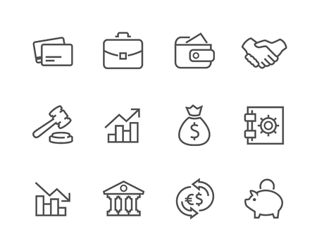 Stroked Financial icons set  Illustration