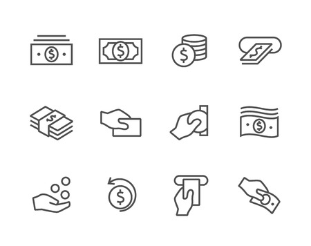 e money: Stroked Money icons set