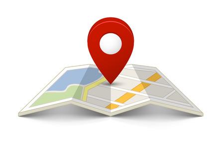 Mapa con un pin aislado en blanco Foto de archivo - 24751395