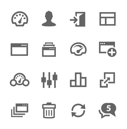 logout: Simple icon set related to Dashboard. A set of sixteen symbols.