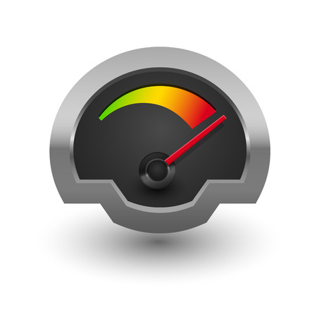 speedmeter: Chrome speedometer illustration for your design.