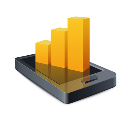 personal organizer: Smart Phone with a graph illustration