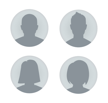 hombros: Vector de perfil de usuario ilustraciones. El hombre y la mujer. Vectores
