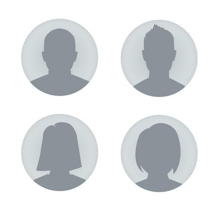 woman back of head: Vector profilo utente illustrazioni. L'uomo e la donna.