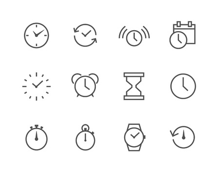 Thin line simple set of Time related icons for your design or application. Vector