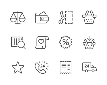 Thin lined icons related to e-commerce. Vector