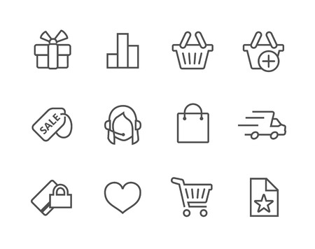 Thin line icons related to e-commerce Иллюстрация