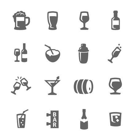 Prosty zestaw napojów alkoholowych związanych ikon wektorowych dla projektu Ilustracja