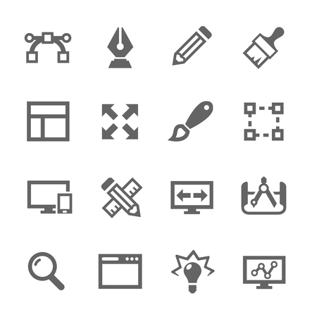 Simple set of design related vector icons for your site or application  Vector