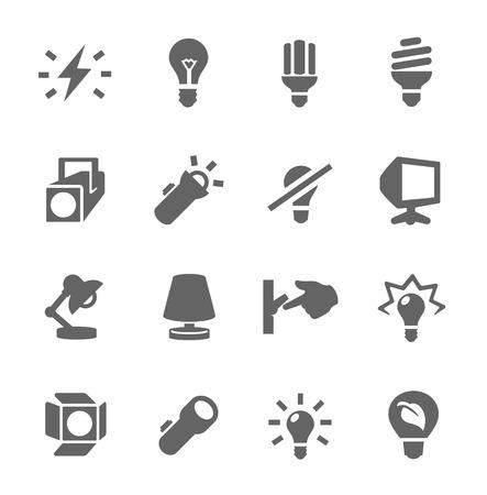 Prosty zestaw lekkich źródłowych związanych z ikon wektorowych dla projektu