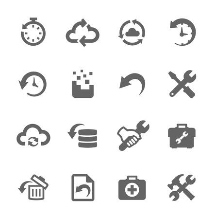Prosty zestaw do odzysku i remontowych związanych ikon wektorowych dla projektu