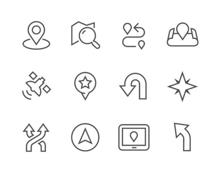 positioning: Simple Icons related to Navigation for you design Illustration