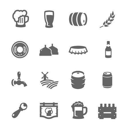 vasos de cerveza: Simple conjunto de iconos relacionados con la cerveza de vectores para su diseño Vectores