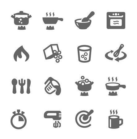 Eenvoudige set van koken gerelateerde vector iconen voor uw ontwerp Stock Illustratie