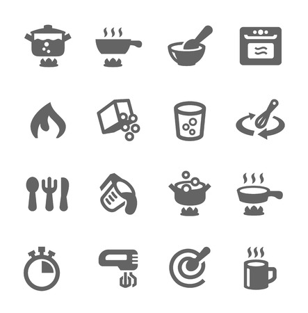 Prosty zestaw do gotowania pokrewnych wektorowe ikony dla swojego projektu