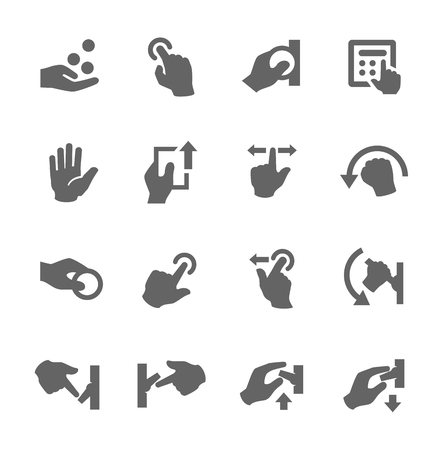 push up: Simple set of hands related vector icons for your design  Illustration