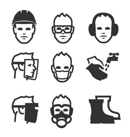 védelme: Egyszerű, munkahelyi biztonsággal kapcsolatos vektoros ikonok a design