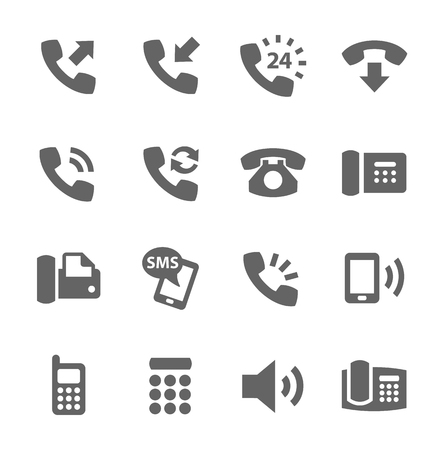 communicatie: Eenvoudige set van telefoons gerelateerde vector pictogrammen voor uw site of applicatie