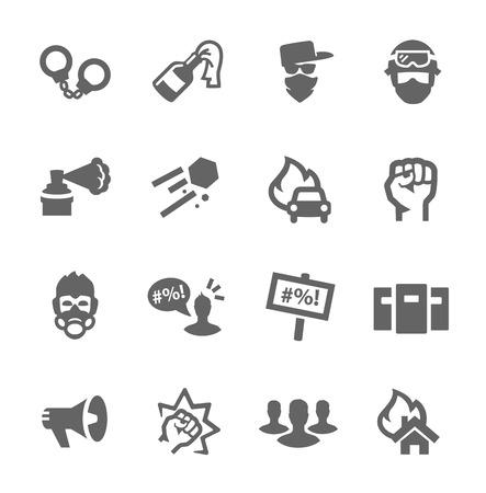 conflictos sociales: Conjunto simple de protesta relacionada iconos vectoriales para su diseño Vectores