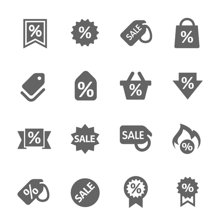 e store: Simple set of discount tags related vector icons for your design