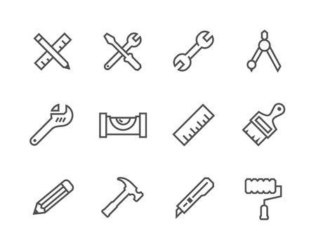 Prosty zestaw narzędzi związanych ikon wektorowych dla projektu