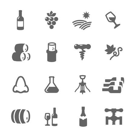Prosty zestaw do wina związanych z ikon wektorowych do projektowania lub aplikacji