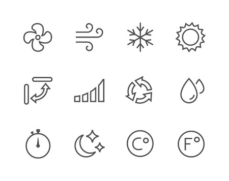 mite: Simple set of air conditioning related vector icons for your design.